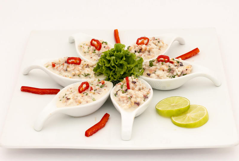 Havs- peruansk maträtt: Pichanga de Mariscos Ceviche stil med vitkräm arkivfoto