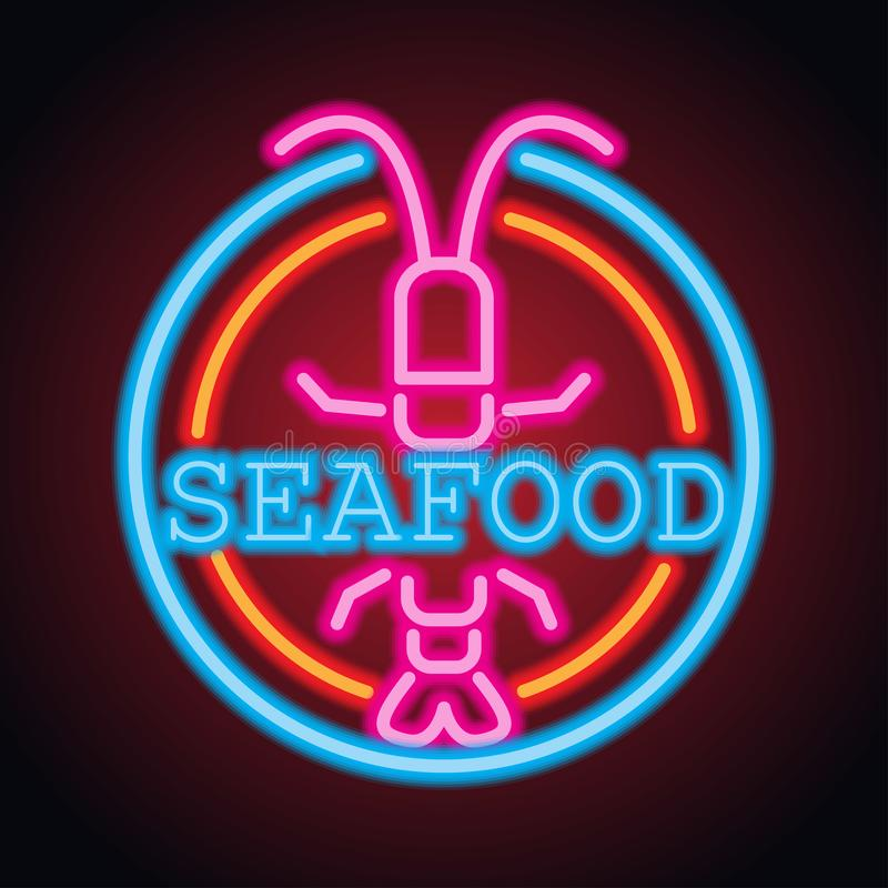Havs- planka för restaurangneontecken vektor arkivfoton