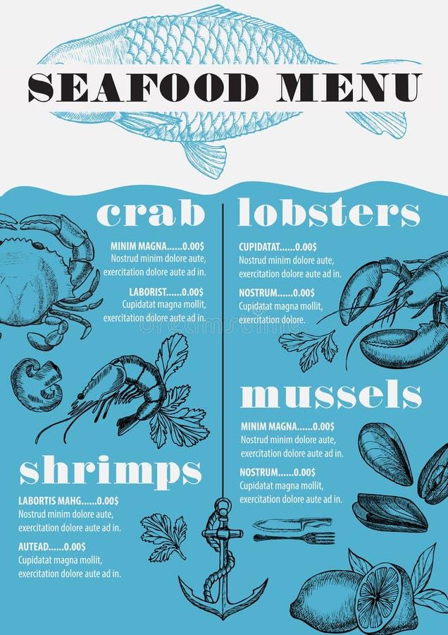 Havs- restaurang för meny, matmallplacemat royaltyfri illustrationer