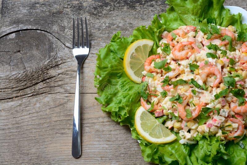 Havs- sallad med räkor royaltyfria foton