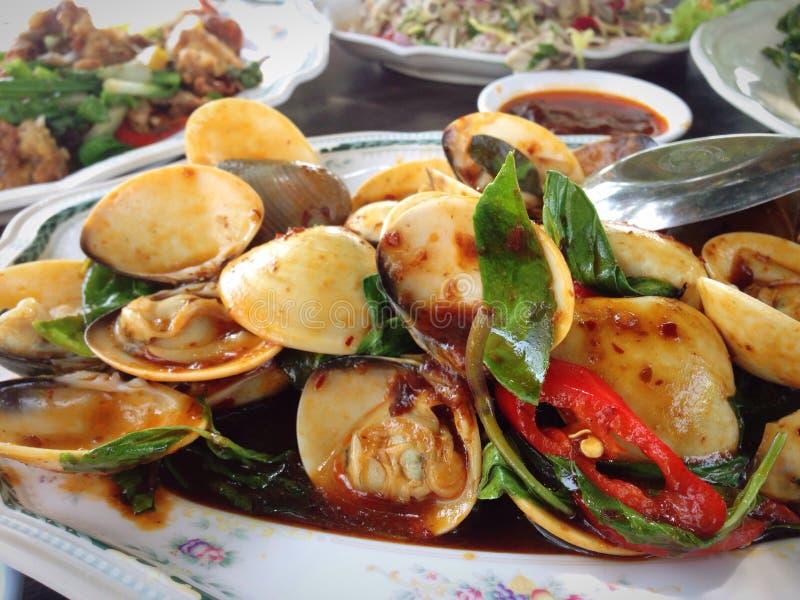 Havs- stekte musslor royaltyfri foto