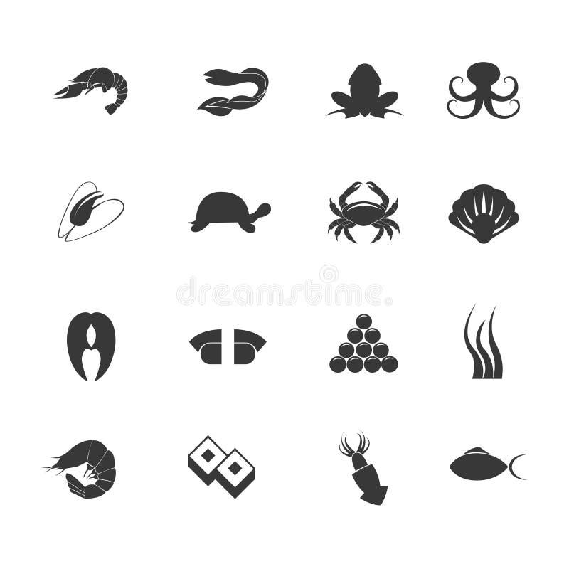 Havs- symbolsuppsättning stock illustrationer