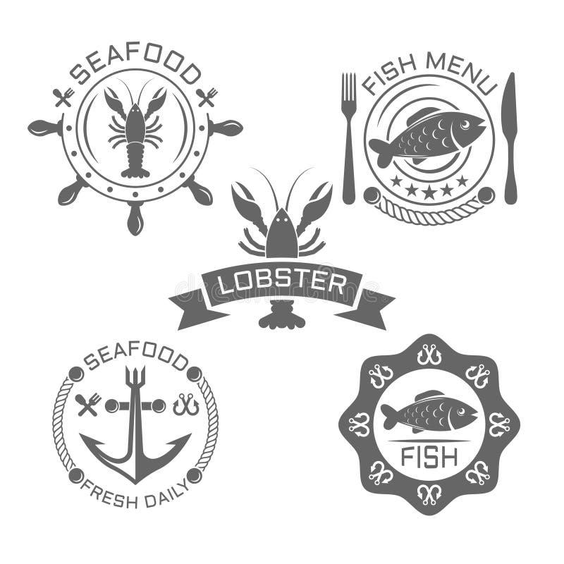 Havs- tappningvektoremblem eller etiketter på vit stock illustrationer