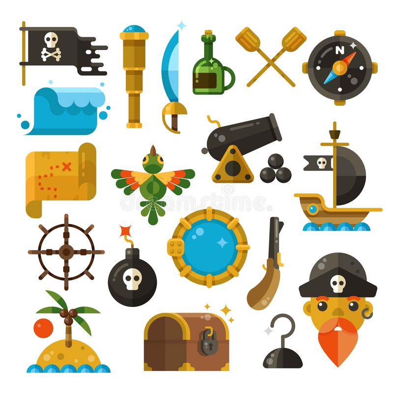 Havsaffärsföretaget, piratkopierar, vapnet, symboler för skattvektorlägenhet royaltyfri illustrationer