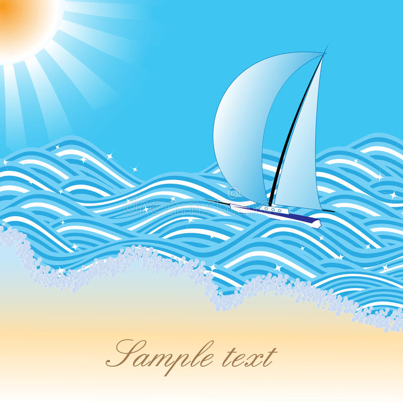 Havsbaner med yachten royaltyfri illustrationer