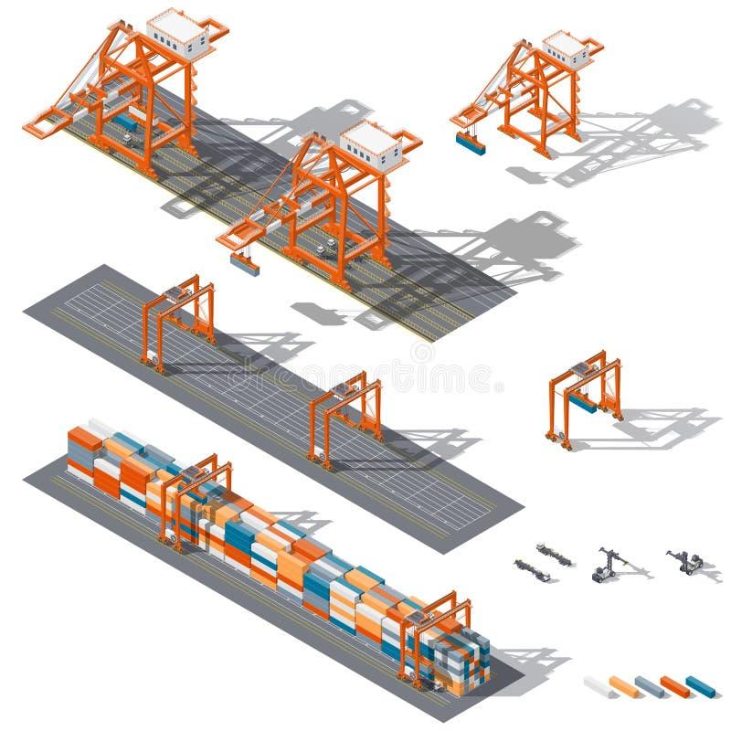 Havsbehållareterminal Skepp-till-kust och zon för lagringsbehållare, som föreställs arbetsrtgen och sts-kranar stock illustrationer