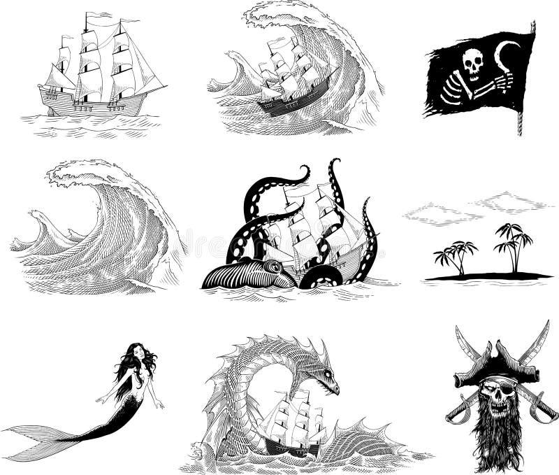 Havsberättelser royaltyfri illustrationer