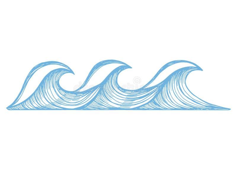 Havsblått vinkar med skum skissar Teckning för vektorillustrationhand vektor illustrationer