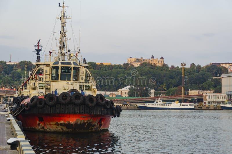 Havsbogserbåt som förtöjer i port royaltyfria bilder