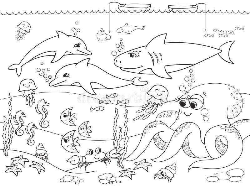 Havsbotten med marin- djur Vektorfärgläggning för ungar, tecknad film royaltyfri illustrationer