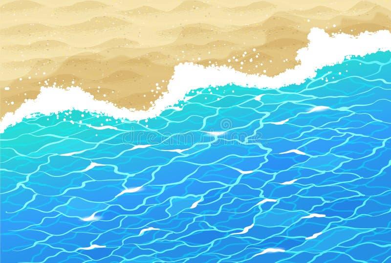 Havsbränning och strandsand stock illustrationer