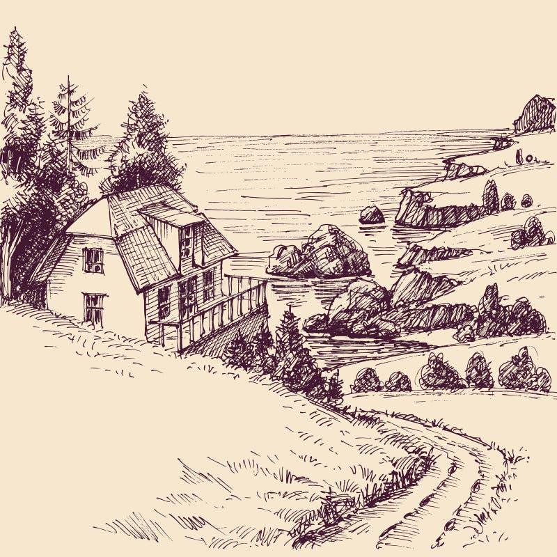 Havsbysikt från en kulle royaltyfri illustrationer