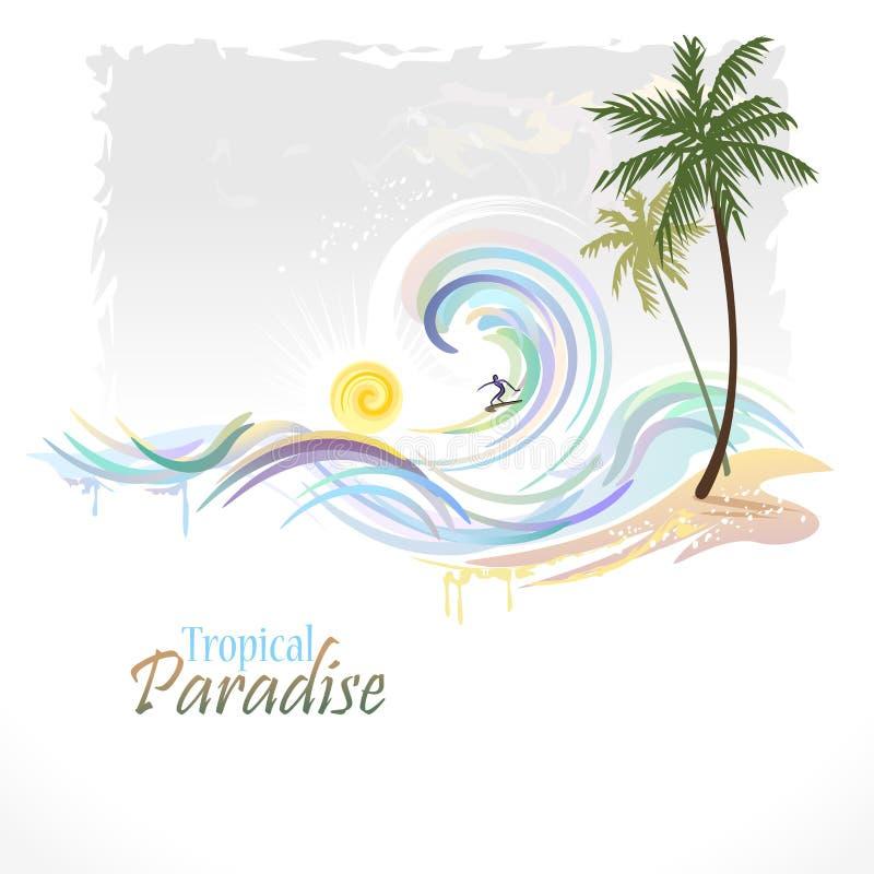 Havsdiagramserie - hawaianskt surfa royaltyfri illustrationer