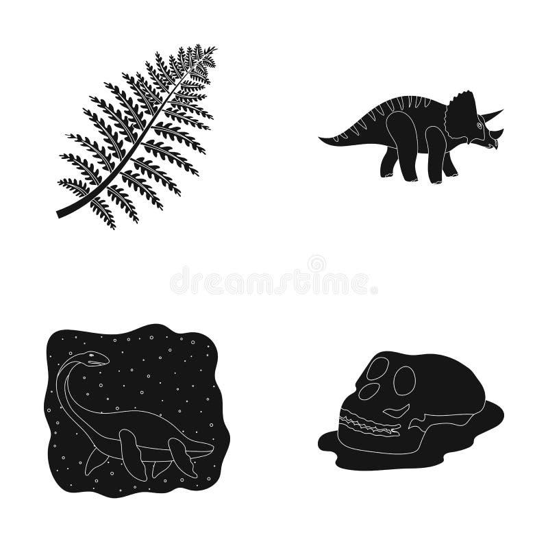 Havsdinosaurie, triceratops, förhistorisk växt, mänsklig skalle Dinosaurien och den förhistoriska perioden ställde in samlingssym royaltyfri illustrationer