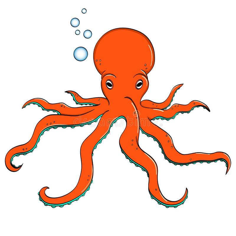 Havsdjur, bläckfisk Invånare av djupen av havet objekt på ett vitt bakgrundsraster stock illustrationer