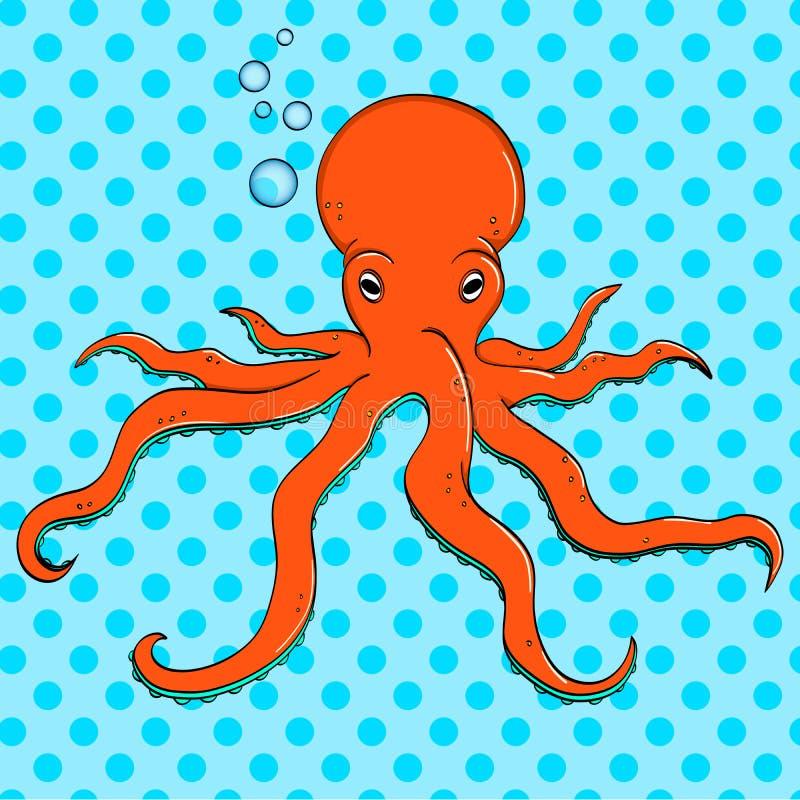 Havsdjur, bläckfisk Invånare av djupen av havet Raster för popkonst Efterföljden av komisk stil royaltyfri illustrationer