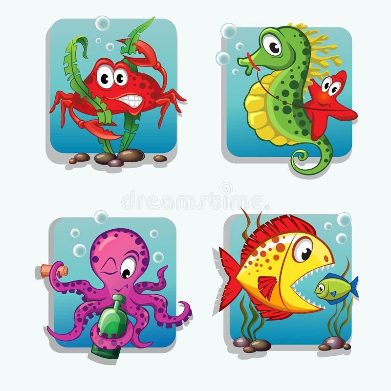 Havsdjur Krabban seahorsen, sjöstjärnan, bläckfisk, fiskar stock illustrationer