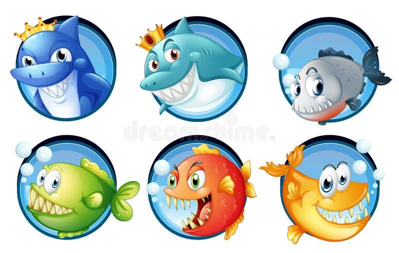 Download Havsdjur på runda emblem vektor illustrationer. Illustration av serie - 78731192