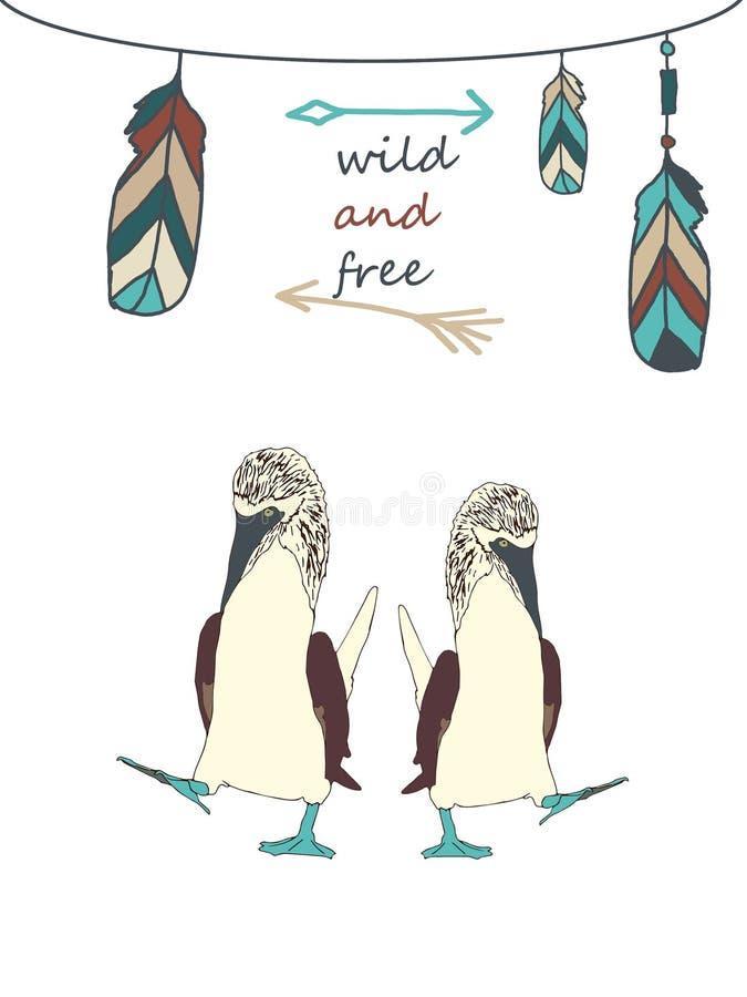 Havsfåglar med den fri inskriften som är lös och royaltyfri illustrationer
