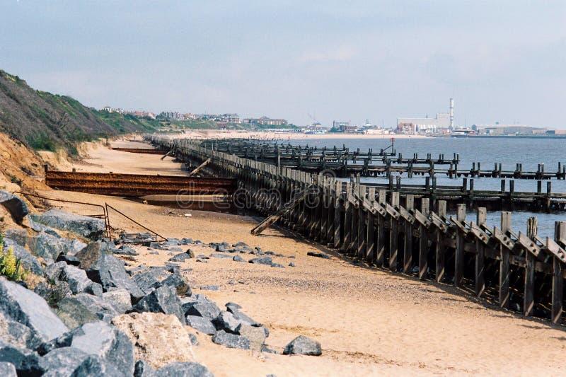 Havsförsvar i Norfolk, England royaltyfria foton