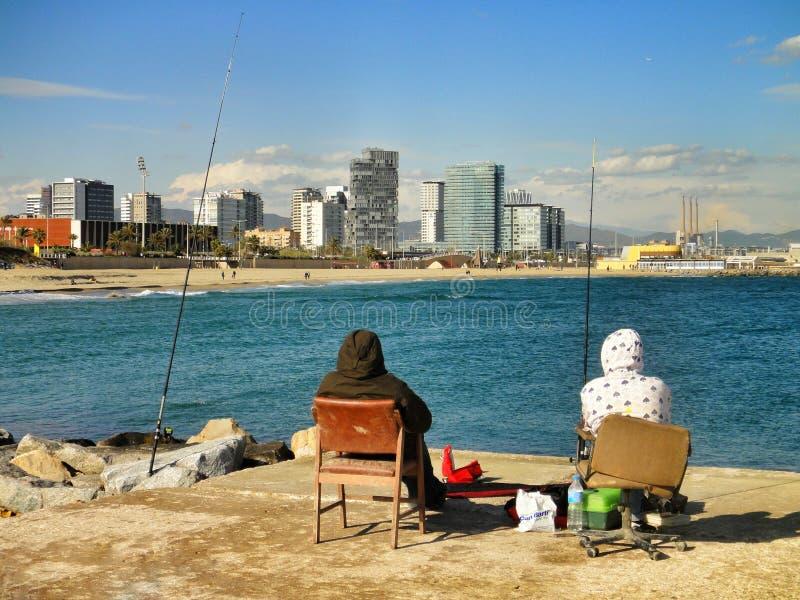 Havsfiske i Barcelona arkivfoto