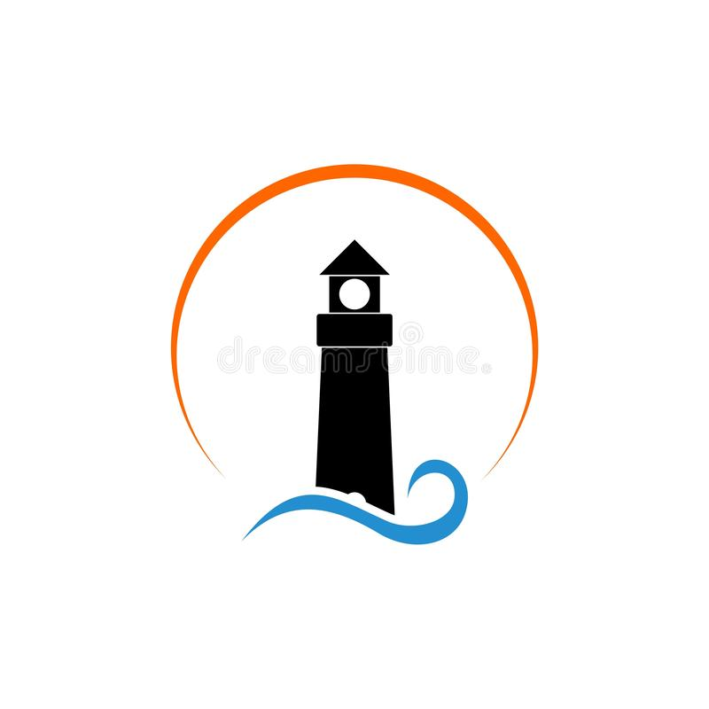 Havsfyrsymbol eller logo stock illustrationer