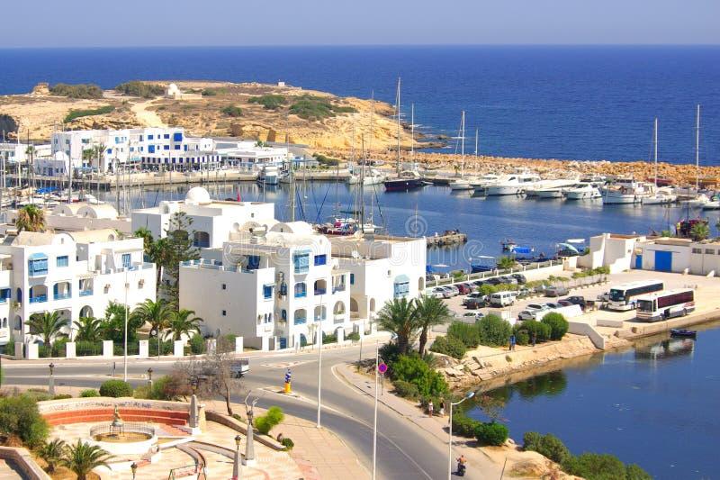 Havskust i Monastir, Tunisien i Afrika royaltyfri fotografi