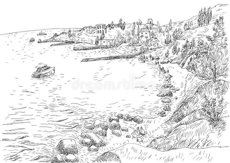 Havskust med pir och stenig kust i Krimet vektor illustrationer