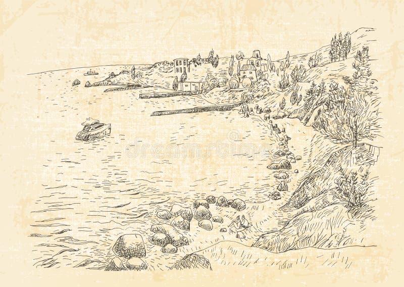 Havskust med pir och stenig kust i Krimet royaltyfri illustrationer
