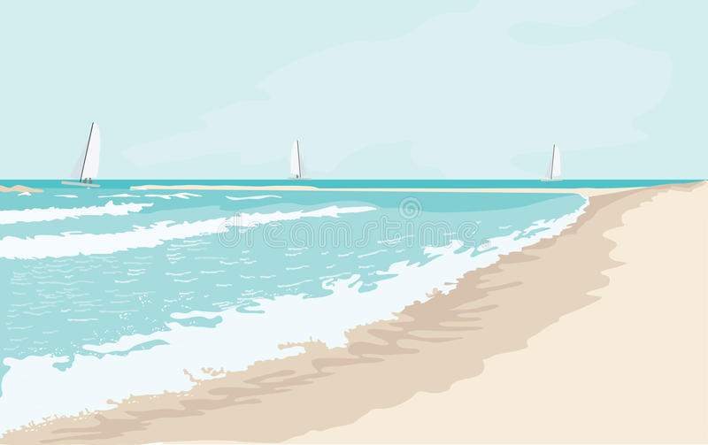 Havslandskap i solig dag stock illustrationer