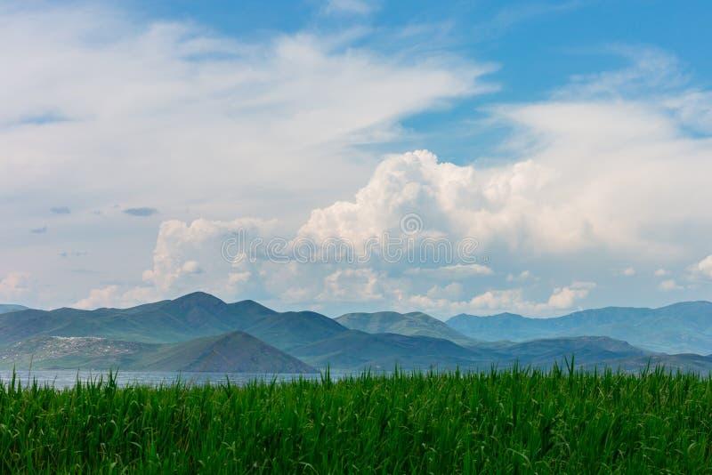Havslandskap med mountines och rottingar, blå himmel med moln, cloudly utan solen, kazakhstan royaltyfria bilder