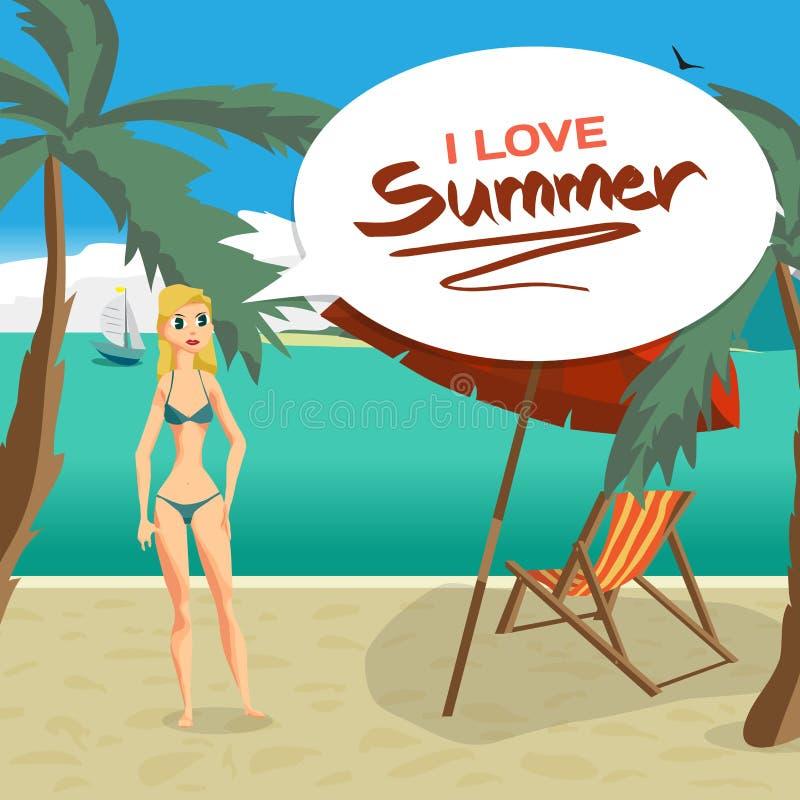 Havslandskapstrand, palmträd, solparaply, chaise royaltyfri illustrationer
