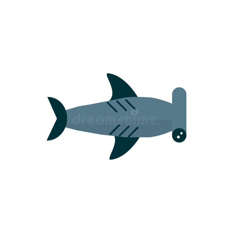 Havsliv, hammerhead shark cartoon sea fauna animal royaltyfri illustrationer
