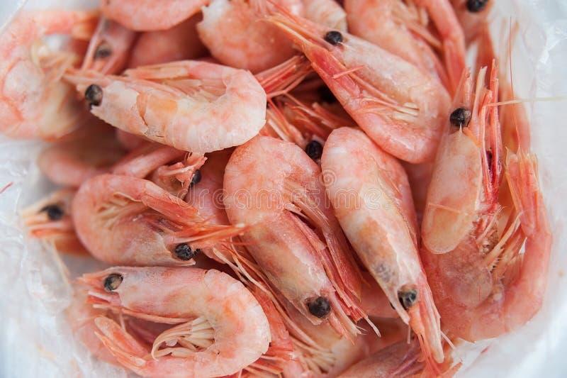 Havsmellanmålturisten kokade räkor i en plastpåse på trätabellen arkivfoto