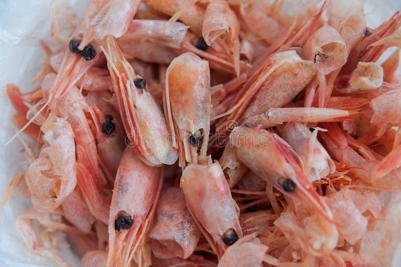 Havsmellanmålturisten kokade räkor i en plastpåse på trätabellen royaltyfri foto