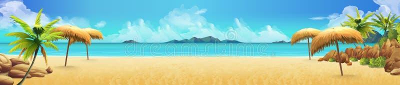 Havspanorama, tropisk strand vektor royaltyfri illustrationer