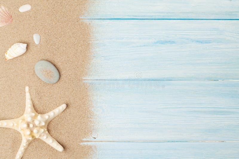 Havssand med sjöstjärnan och skal royaltyfri bild