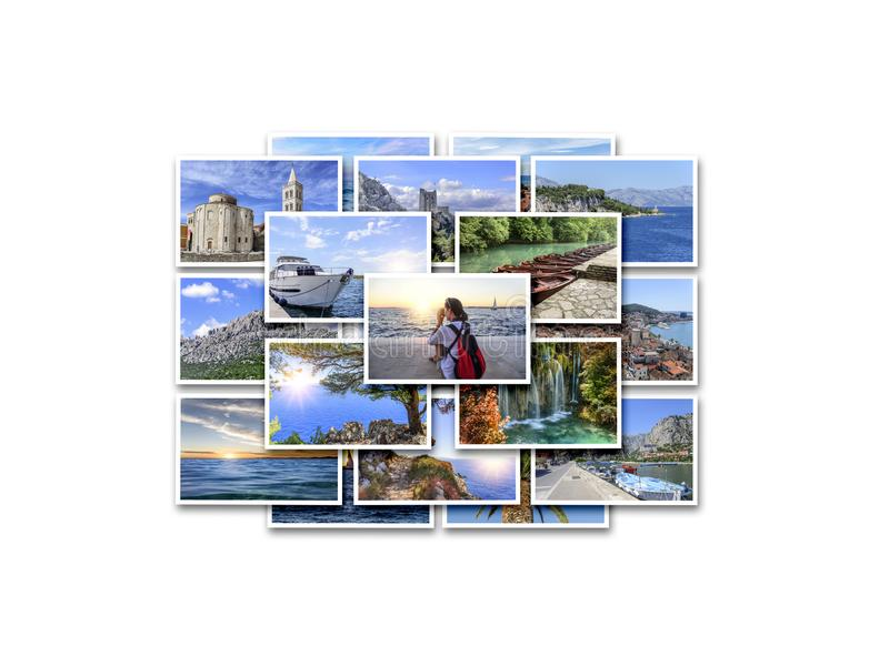 Havssemester, lopp och intresseraställen i sommaren Collage av foto på vit bakgrund arkivfoton