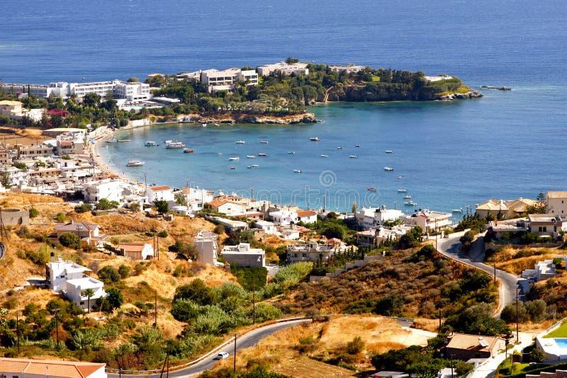 Havssemesterort i Kreta arkivbild
