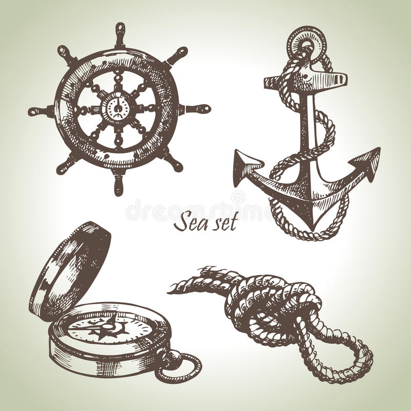Havsset av nautiska designelement stock illustrationer