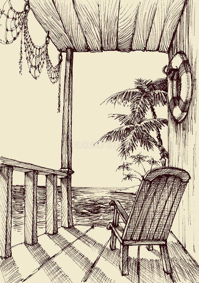Havssikt från farstubron royaltyfri illustrationer