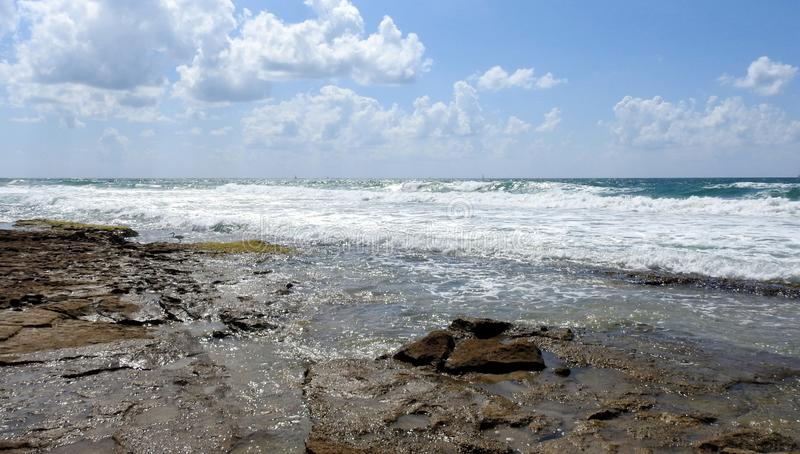 Havssikt i sommar arkivfoto