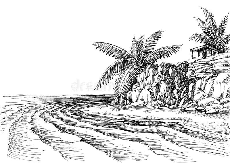 Havssikt, liten strand och palmträd royaltyfri illustrationer