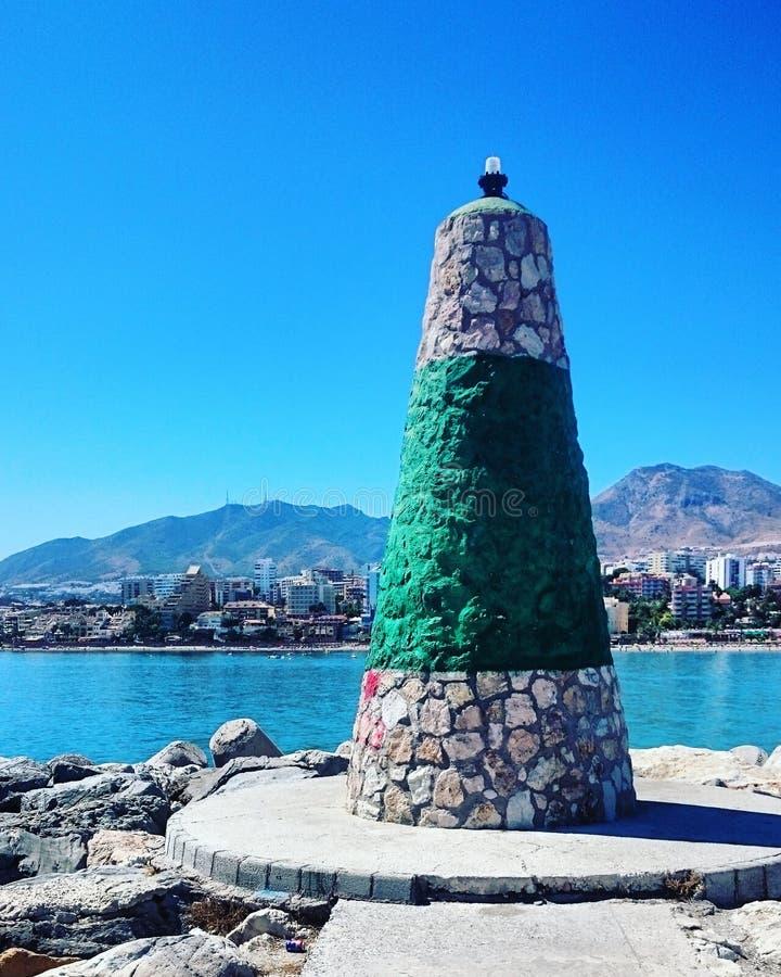 Havssikt med stranden i Malaga, Spanien arkivfoto