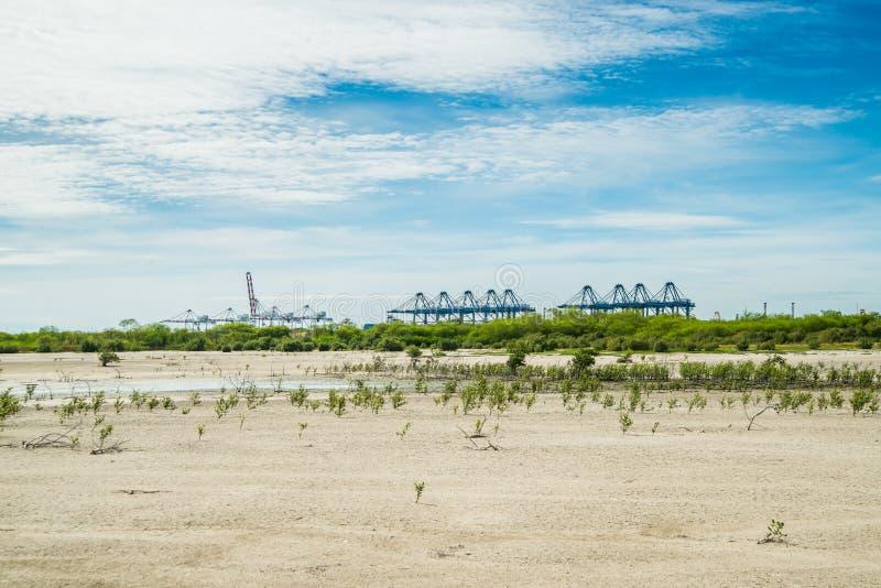 Havssiktsdag på Laemchabang port royaltyfria foton