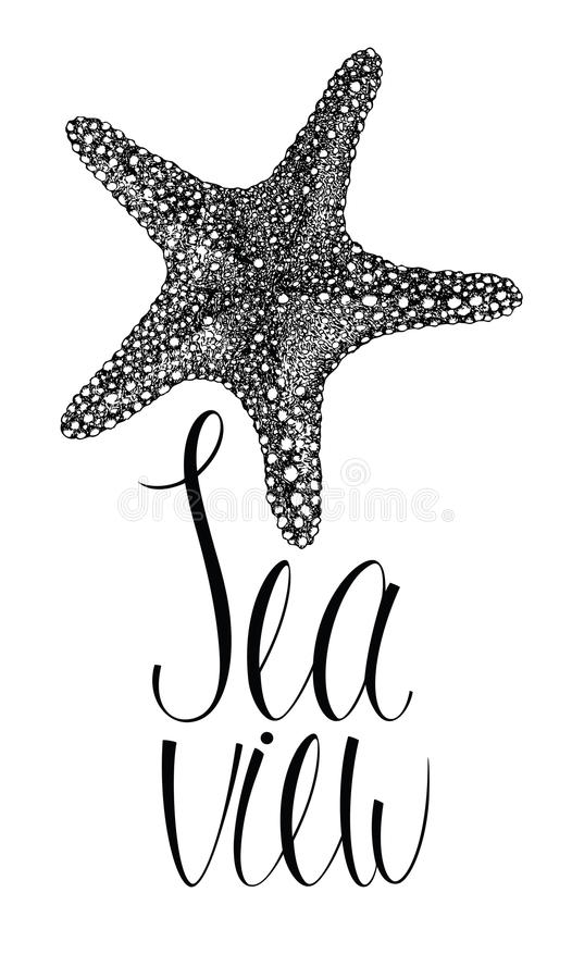 Havssiktskort med sjöstjärnan stock illustrationer