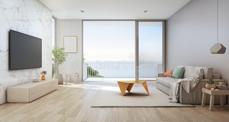 Havssiktsvardagsrum av det lyxiga strandhuset med den glass dörren och träterrassen stock illustrationer
