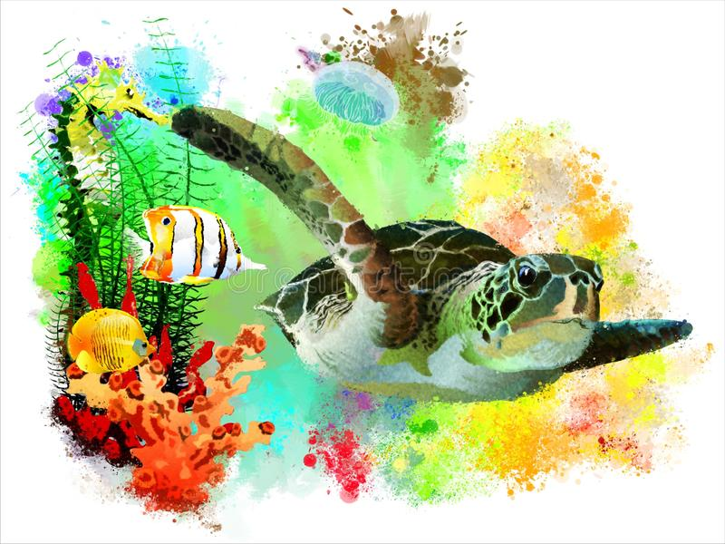 Havssköldpadda och tropisk fisk på abstrakt vattenfärgbakgrund stock illustrationer