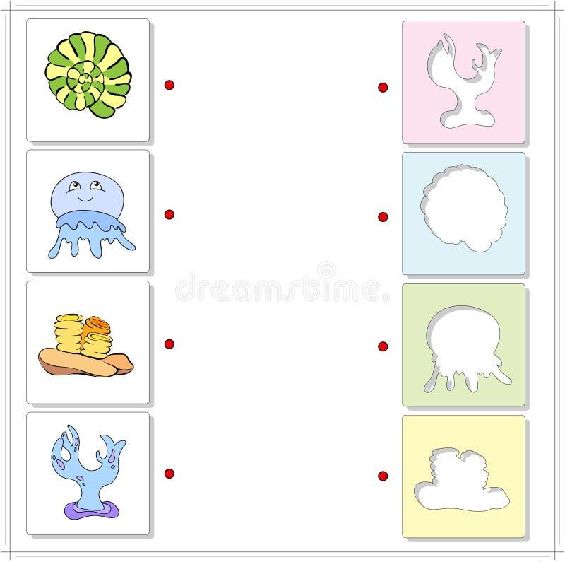 Havsskal, manet, koraller och alg Bildande lek för ungar vektor illustrationer