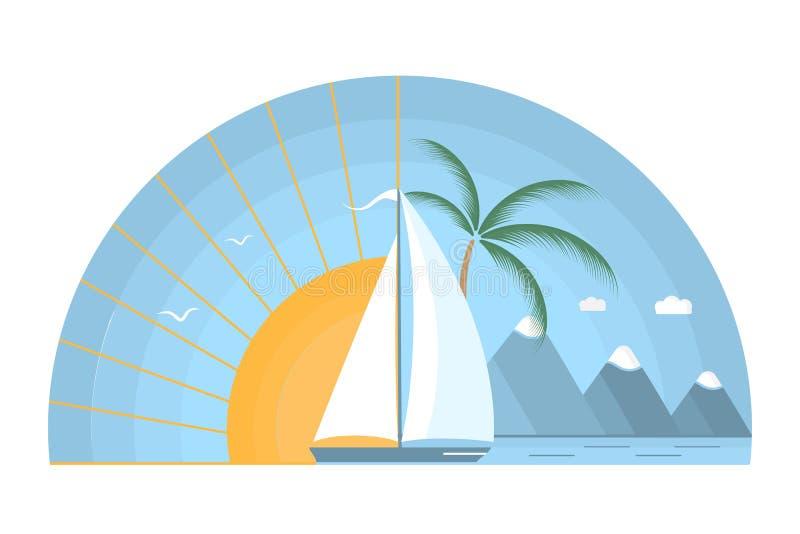 Havssoluppgång med segelbåten, berg och palmträdet stock illustrationer